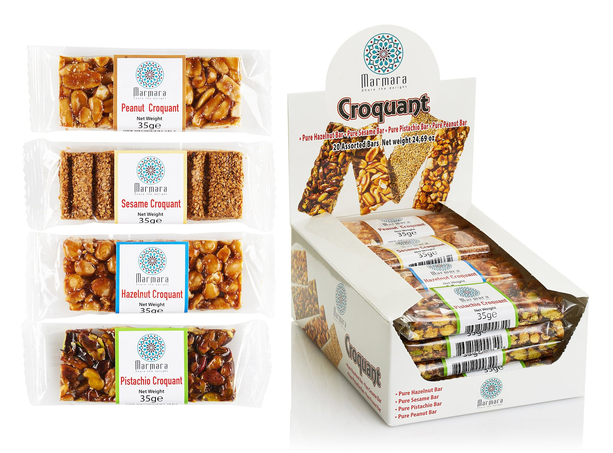 Marmara Croquant Healthy Nut Bars Variety Pack including Pistachio Peanut Sesame and Hazelnut 20 Individually Packed Bars 1.2 Oz each by Marmara Share the Delight