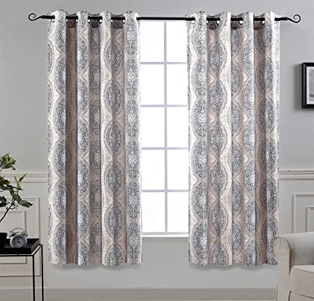 DriftAway Adrianne Thermal and Room Darkening Grommet Unlined Window Curtains Set of 2 Panels Each 52 Inch by 63 Inch Beige and Gray
