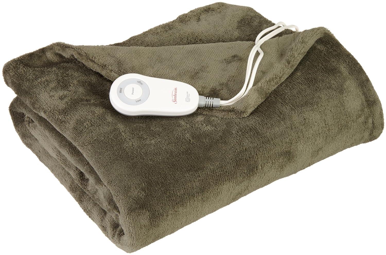 Sunbeam Heated Throw Blanket | Microplush, 3 Heat Settings, Olive