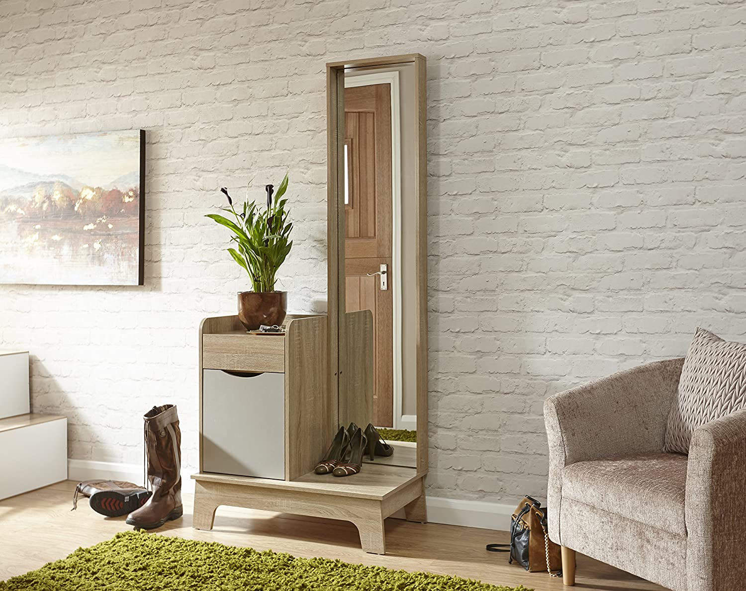 Luna Hallway Storage Mirrored Cabinet with Full Length Mirror - Light Grey Oak