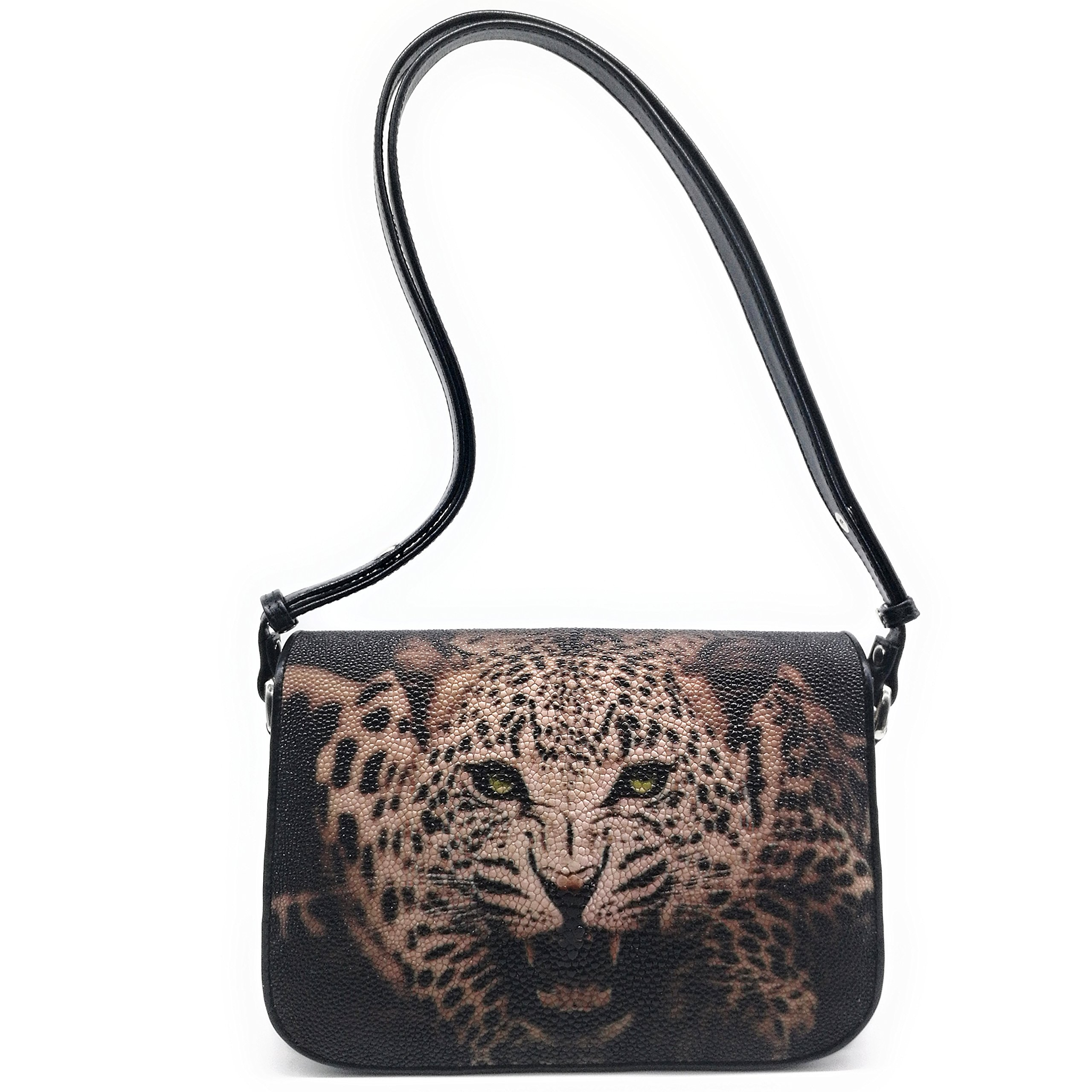Stingray Genuine Leather Shoulder Bag Woman Smart Style Nice Looking Size 24 x 7.5 x 17 cm. (Action Tiger)