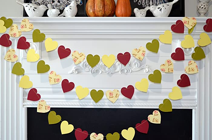 fall heart garland fall in love decorations fall wedding decor fall bridal shower