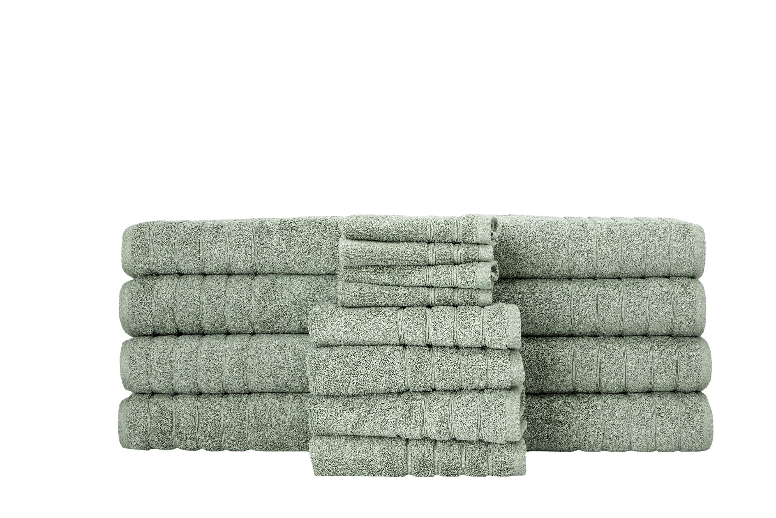 SALBAKOS Giallo 16 Piece Turkish Hotel Collection Bath Towel Set, Dark Green
