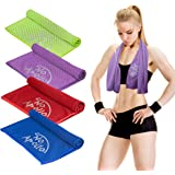 "SEASONAL REMOVAL SALE 4 Piece Cooling Towel Set (36""x12""), Soft Microfiber with Evaporative Cooling for Sports, Gym, Fitness, Running, Hiking, Yoga, Travel, Camping, & More - NoApollo"