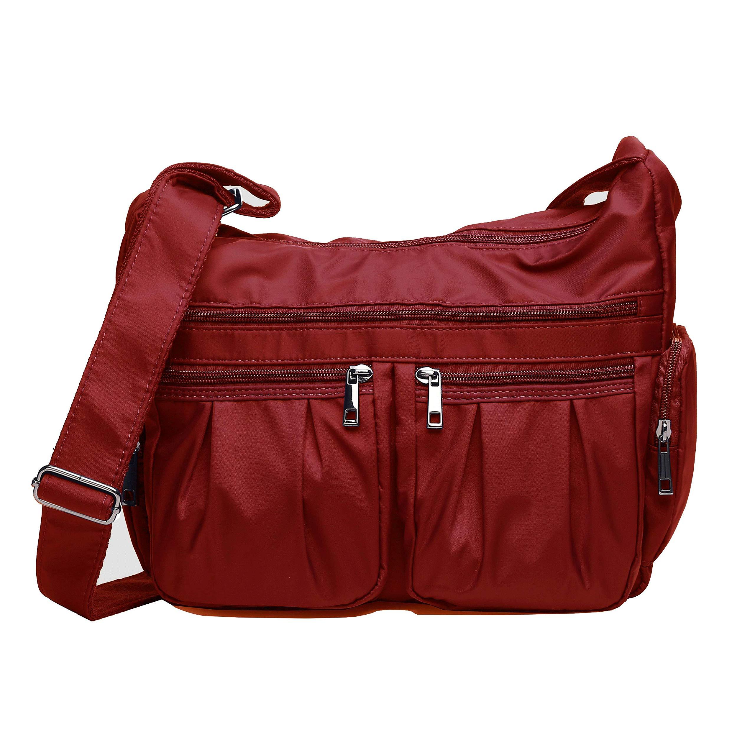 Crossbody Bags for Women, Multi Pocket Shoulder Bag Waterproof Nylon Travel Purses and Handbags (8981_Red)