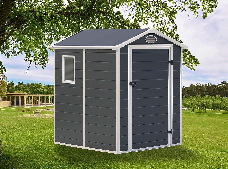 GARDIUN Caseta de Resina Marena Antracita/Blanco 2,47 m² Exterior - KSP38110: Amazon.es: Bricolaje y herramientas
