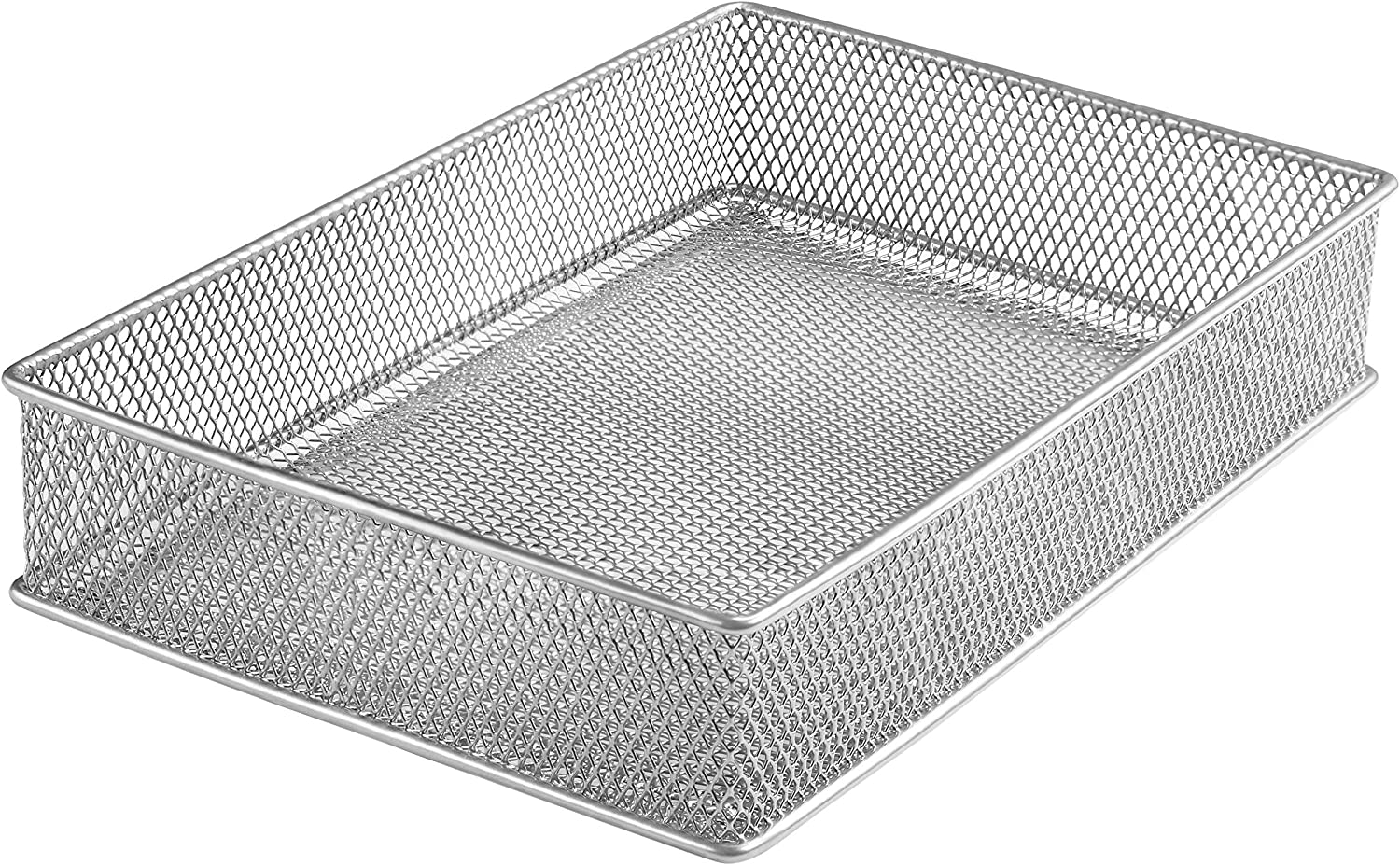 YBM HOME Silver Mesh Drawer Cabinet and or Shelf Organizer Bins, School Supply Holder Office Desktop Organizer Basket 1590s (1, 6x9x2 Inch)