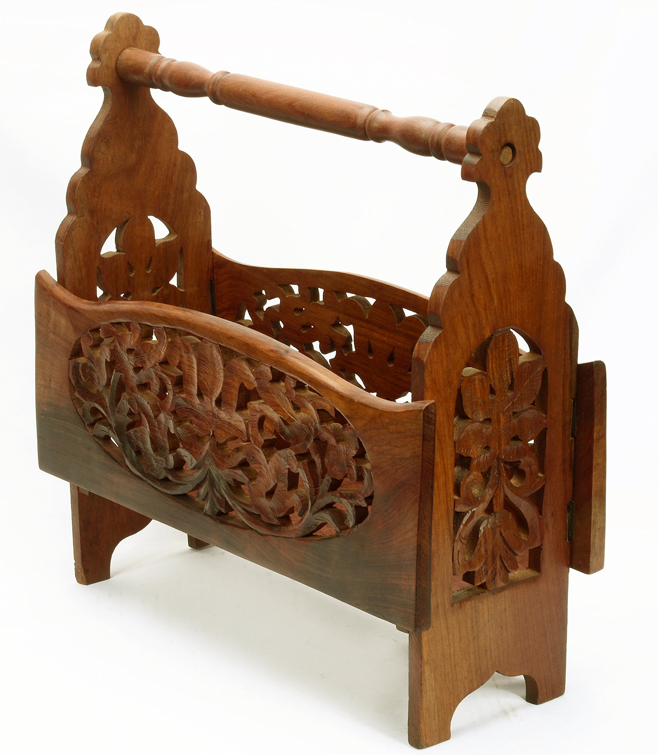 Vtg Style Foldable Ornate Carved Wood Magazine Stand India Craft Gift Décor 15''H