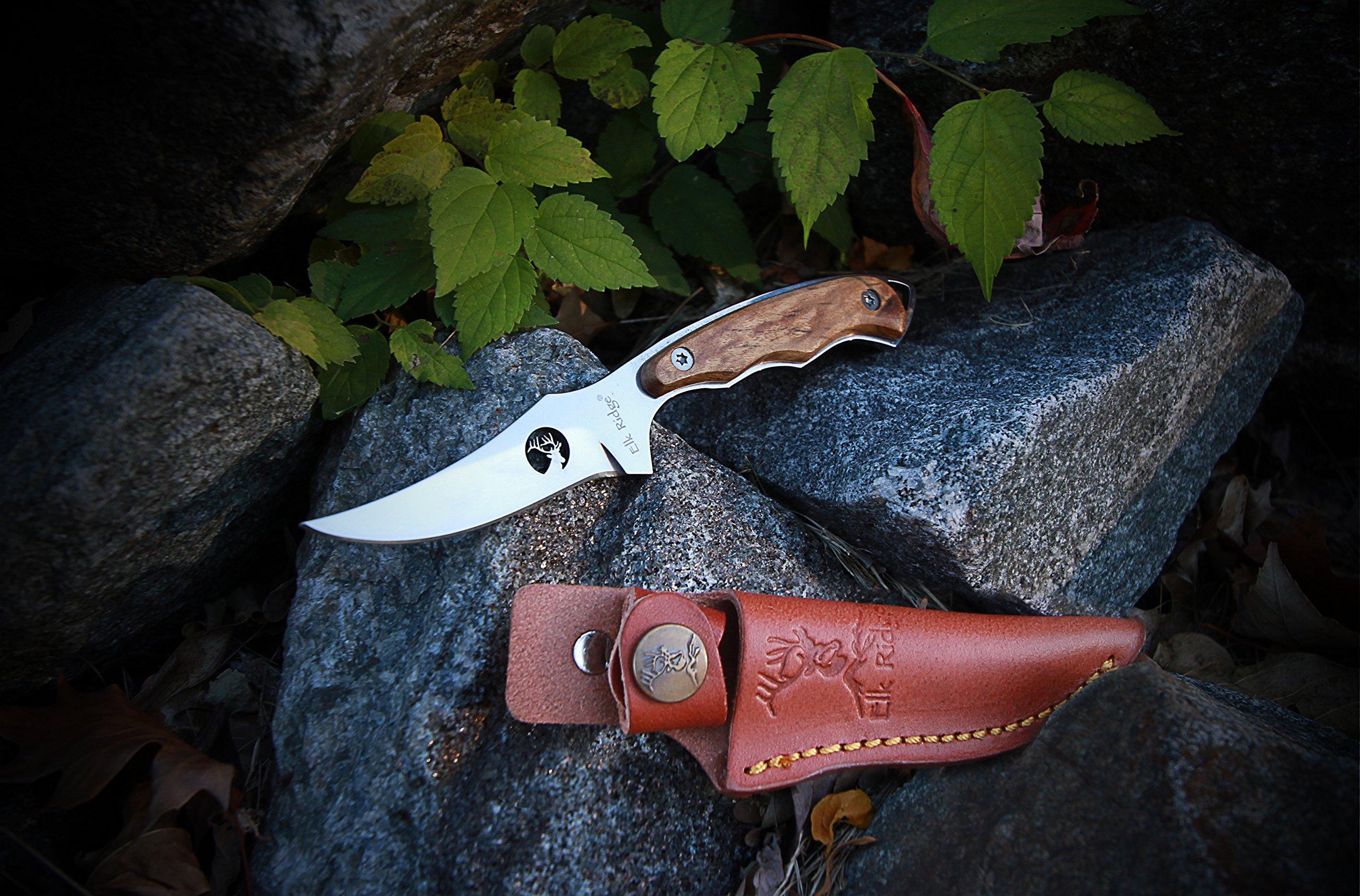 Elk Ridge ER-059 Fixed Blade Hunting Knife, Straight Edge Blade, Burl Wood Handle, 7-Inch Length
