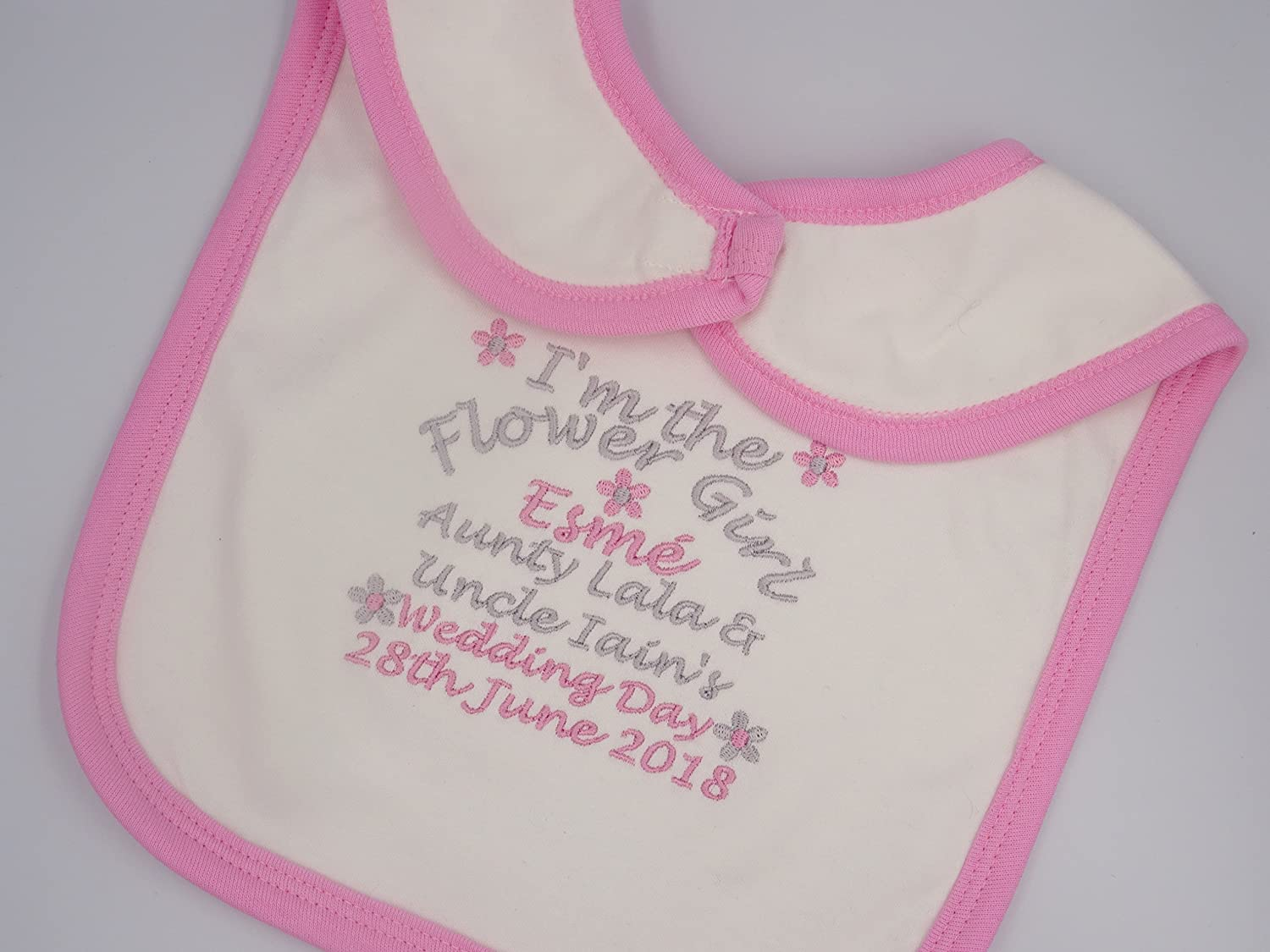 Embroidered Baby//Toddler Gift Personalised Page Boy Wedding Day Bib