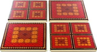 product image for Set of 4 Colorful Wooden Coasters - Adapted From Unique Woodworking Patterns by Mitercraft