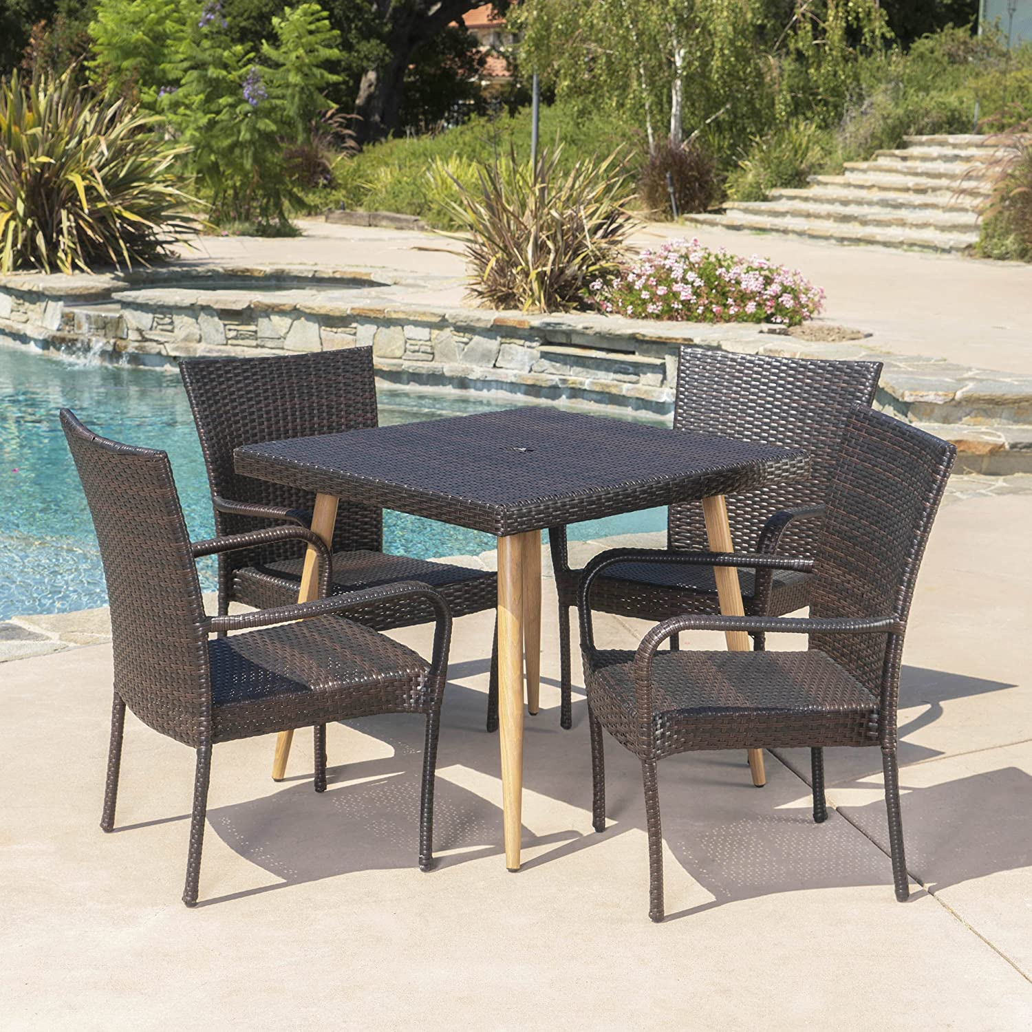 Christopher Knight Home Cabrillo Outdoor Wicker Dining Set 5 Pcs Set Multibrown Garden Outdoor Amazon Com