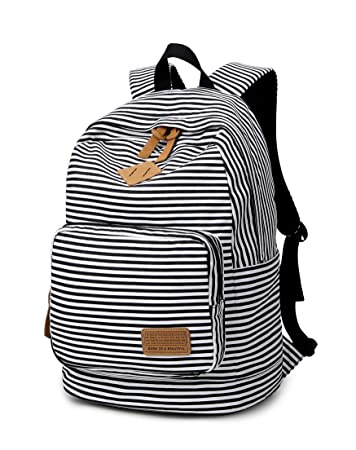 fdf754e21a Spalison Striped Canvas Backpack Girls School Bag Women Casual Travel  Daypack