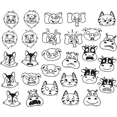Aladine 85141 - Sentimientos Animales Stampo Minos, 28 Sellos, cojín de Tinta 1: Juguetes y juegos