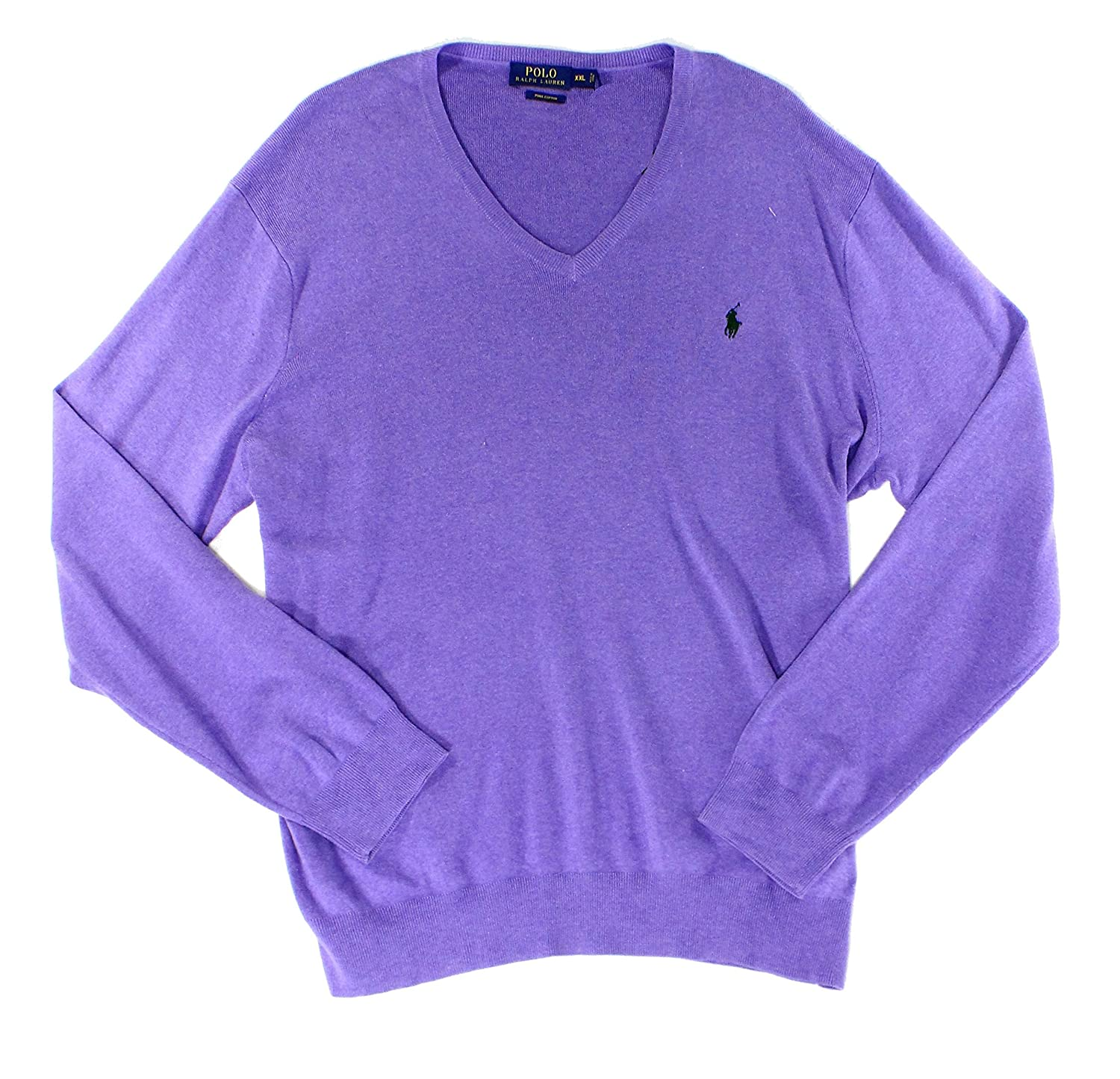 Polo Ralph Lauren Mens Large Ribbed V-Neck Sweater, Spanish Purple ...