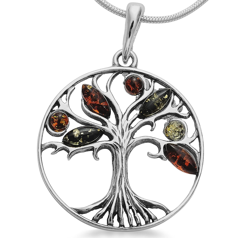 Bernsteinschmuck Lebensbaum Weltbaum Anhänger 925er Silber Bernstein Schmuck Amulett Medaillon #1632 001501201632