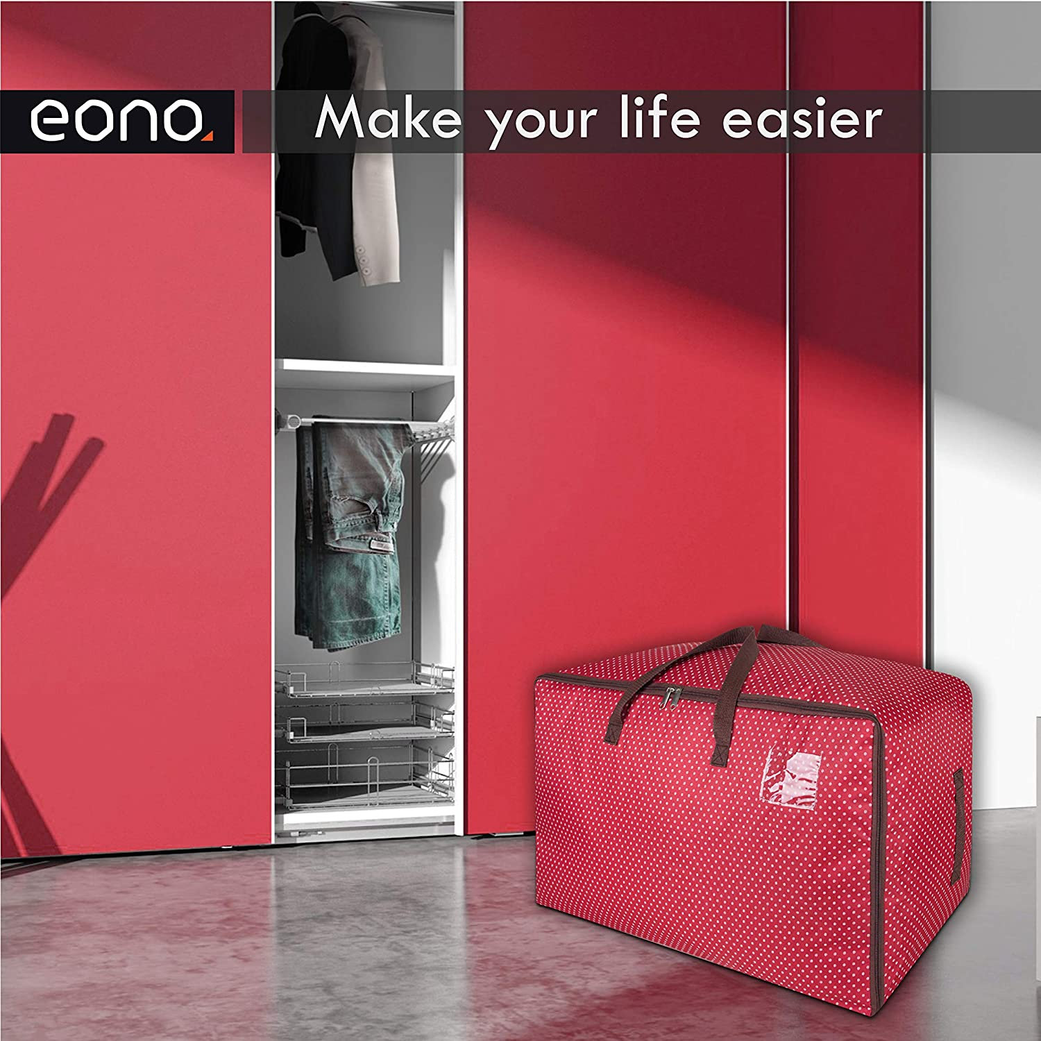 Fabric Clothes Bag Thick Ultra Size Under Bed Storage Eono  Brand 100L Large Storage Bag Red Moisture proof