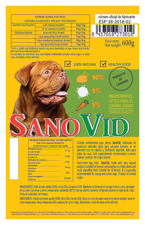 SanoVid Pollo, Arroz & Zanahoria 100% Natural, 90% Carne de Pollo (1 Caja, 20x600g)