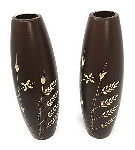 Link Products es Perfecto para Mostrar Gafas y Flores secas. Par de 2 jarrones de Madera Marrón DE 30 cm de Alto