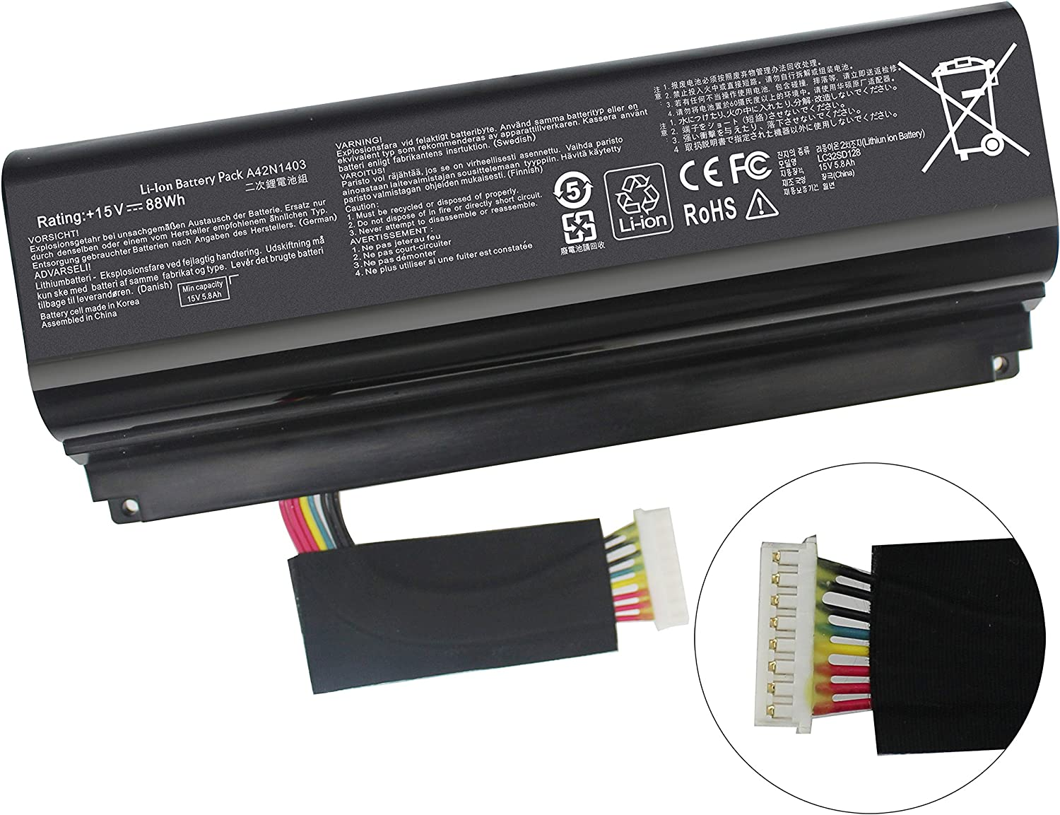 A42N1403 Battery Compatible with ASUS ROG GFX71JY G751 G751J G751JM GFX71Y GFX71JT G751JL G751J-BHI7T25 G751JL-BSI7T28 GFX71JY4710 A42LM93 4ICR19/66-2 0B110-00290000