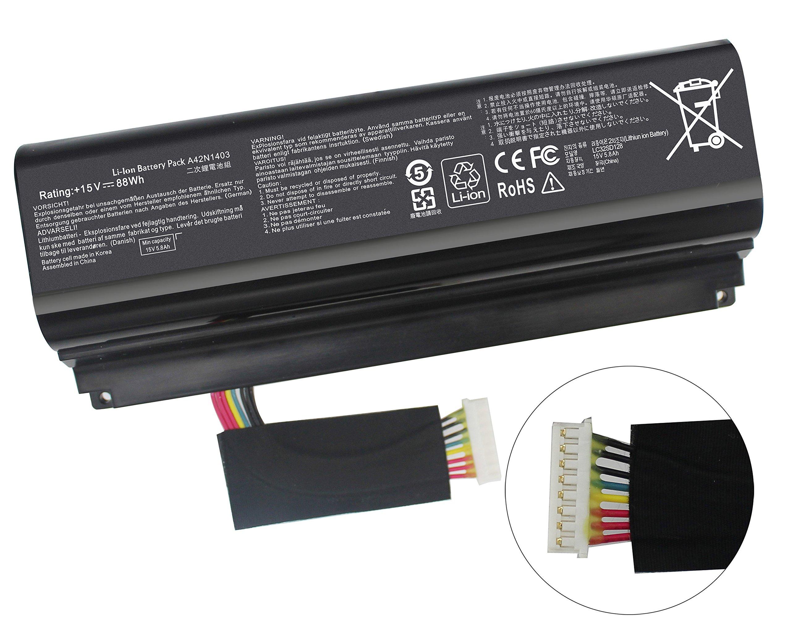 Gomarty New A42N1403 Battery for ASUS ROG GFX71JY 17.3'' GFX71JY4710 G751 G751J G751JT G751JY G751JL G751JM GFX71JY GFX71JY4710 GFX71JY4710 G751J-BHI7T25 G751JL-BSI7T28 A42LM93 0B110-00290000 4ICR19/66