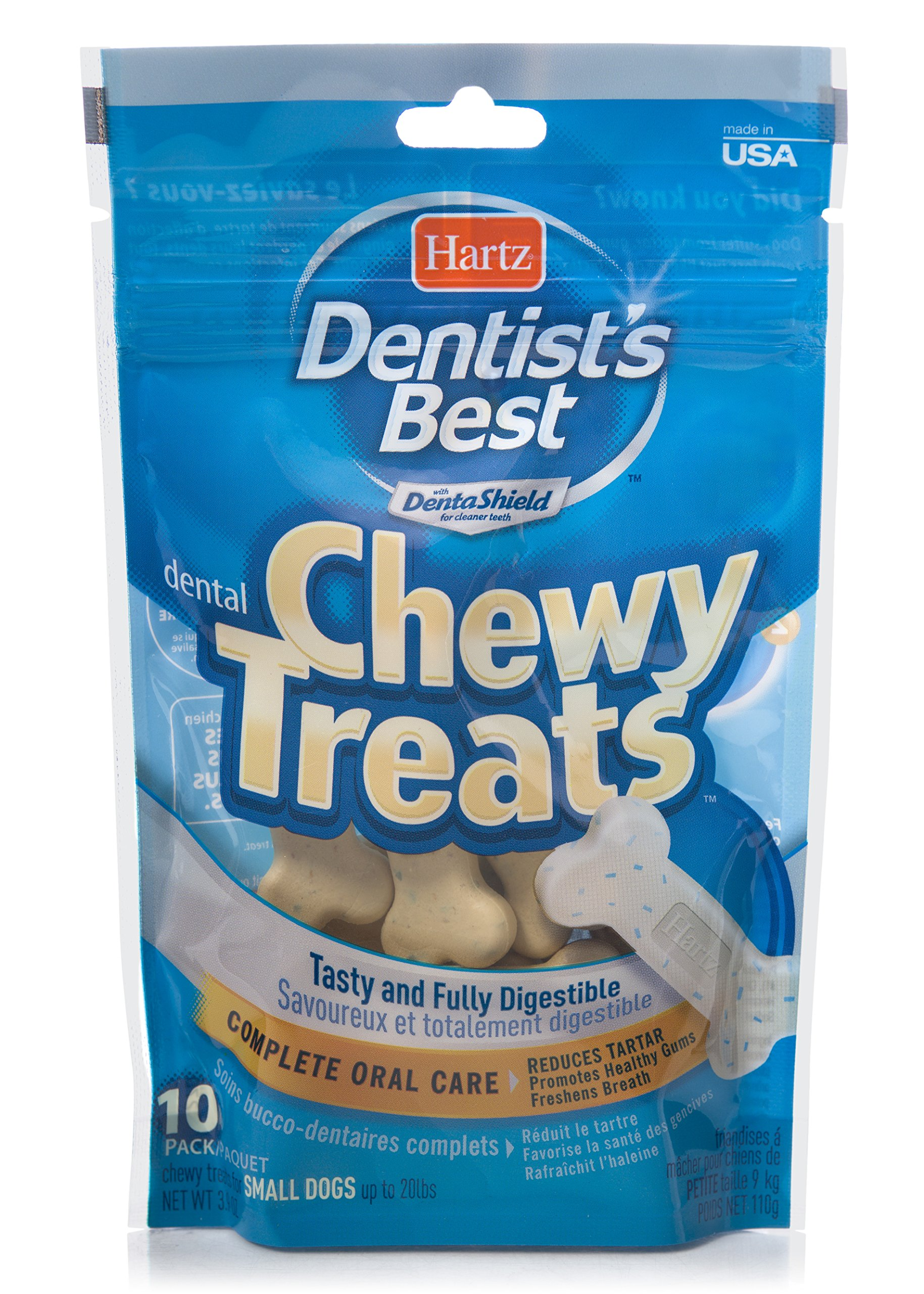HARTZ Dentist's Best Chewy Dental Care Dog Treat Bones - 10 Pack
