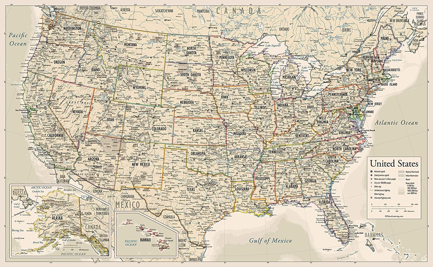"""Antique Style USA Map - Wall Chart Map of The United States of America - Made in The USA - Updated for 2020 (Laminated, 18"""" x 29"""")"""