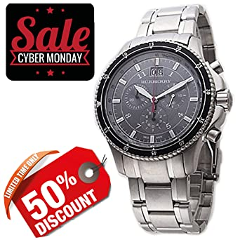 Burberry Men Unisex Women Watch Endurance SWISS LUXURY Round Stainless Steel Chronograph Black Date Dial 42mm