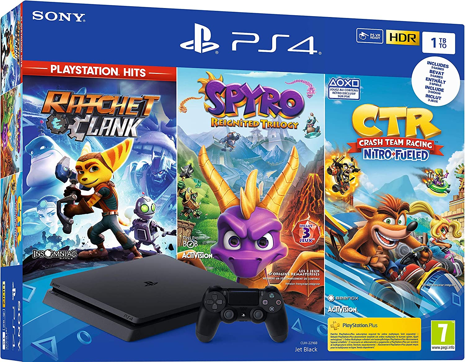 PS4 1 To Crash Team Racing + Spyro + RC Hits - noire [Importación francesa]: Amazon.es: Videojuegos