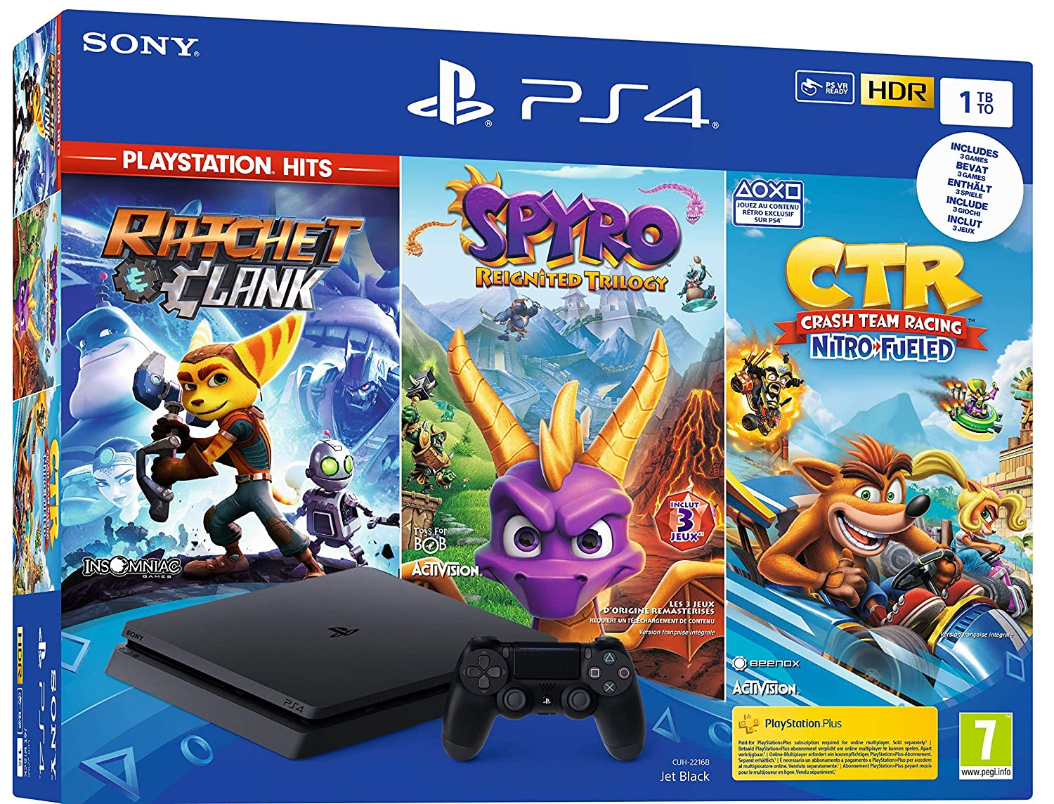 PS4 1 To noire + Crash Team Racing + Spyro + RC Hits
