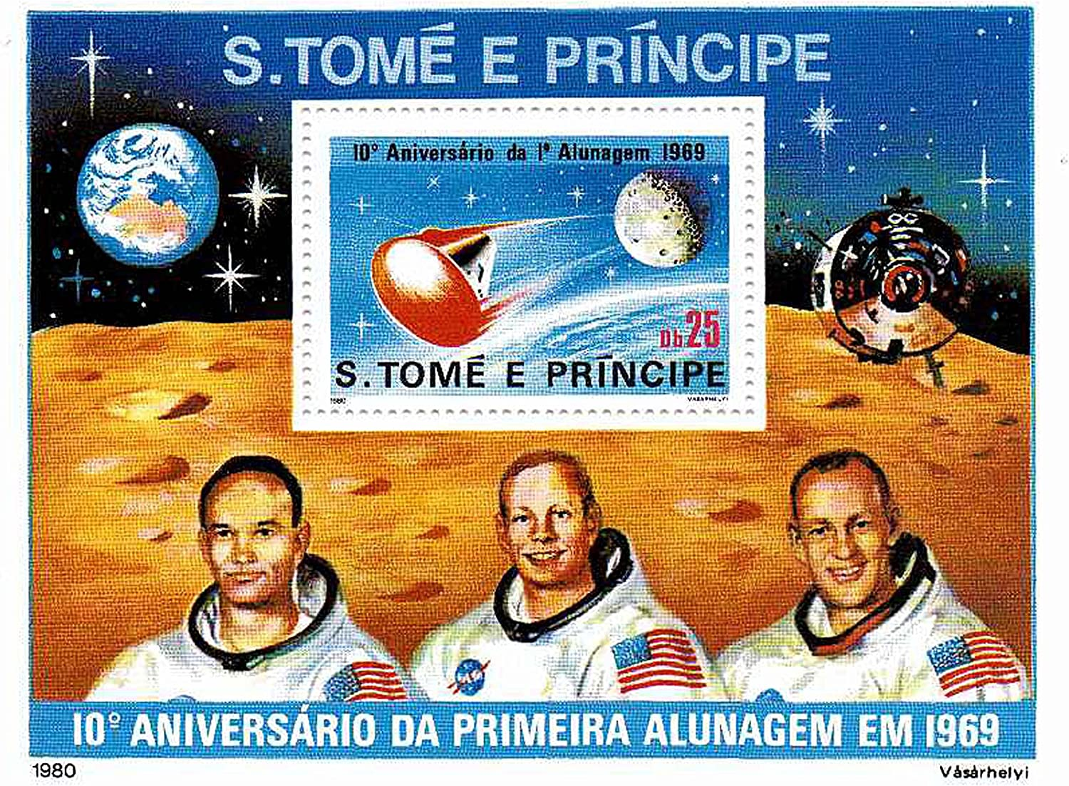 Mint NH Space stamps for collectors Printed 1980-1 Space themed stamp ideal for collecting superb condition 10th Anniversary of the first man on the moon