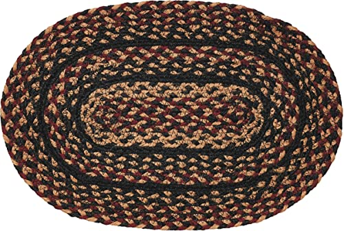 IHF Home Decor Braided Oval Area Rug BlackBerry Design Jute Fiber 8 x 10 Plum Black Cream