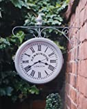 OUTDOOR GARDEN KENSINGTON STATION OUTSIDE BRACKET WALL CLOCK DOUBLE SIDED-Grey
