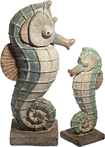 Design Toscano FU680070 Sea Biscuit Seahorse Marine Fish Family Statue Collection: Set of 2
