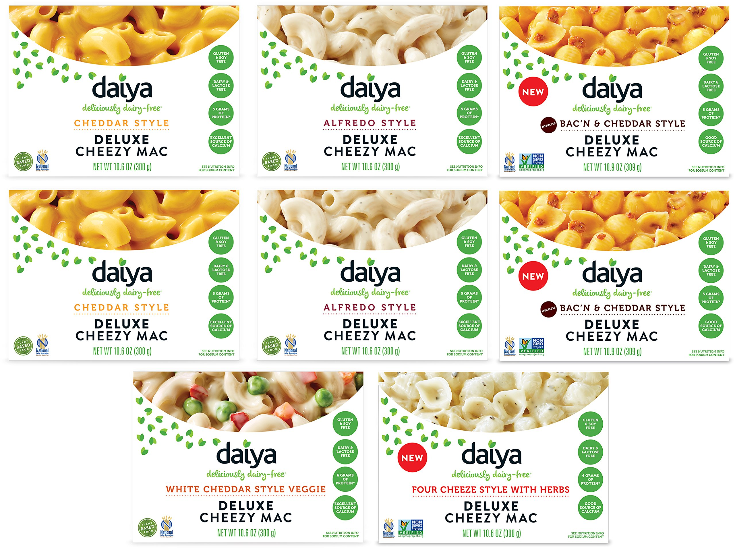 Daiya Cheezy Mac, Variety Pack with 5 Flavors :: Rich & Creamy Plant-Based Mac & Cheese :: Deliciously Dairy Free, Vegan, Gluten Free, Soy Free :: With Gluten Free Noodles (8 Pack) by Daiya