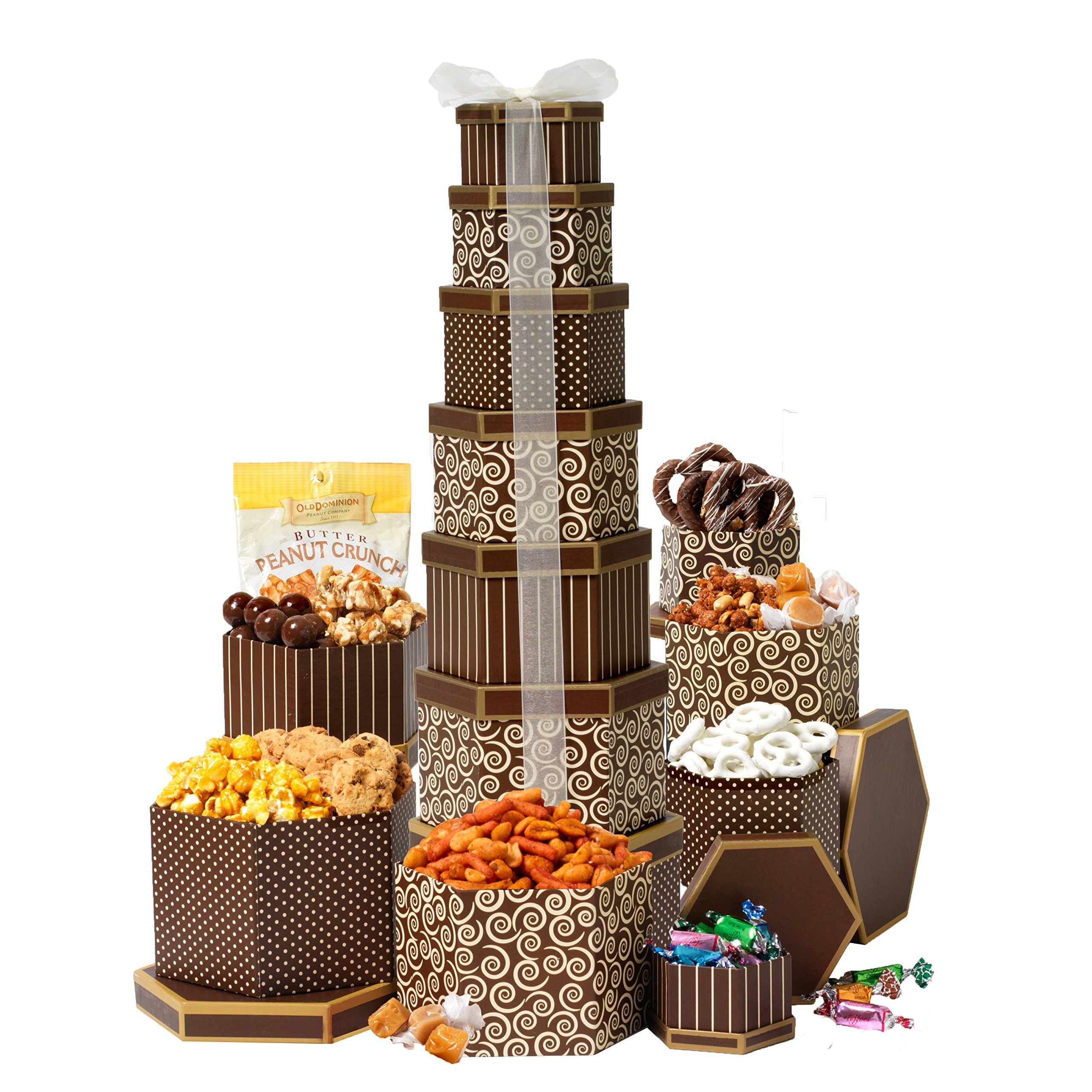 Broadway Basketeers Gift Tower Deluxe With 7 Gift boxes of Gourmet Chocolates, Nuts, Sweets & More. Stands Two Feet High