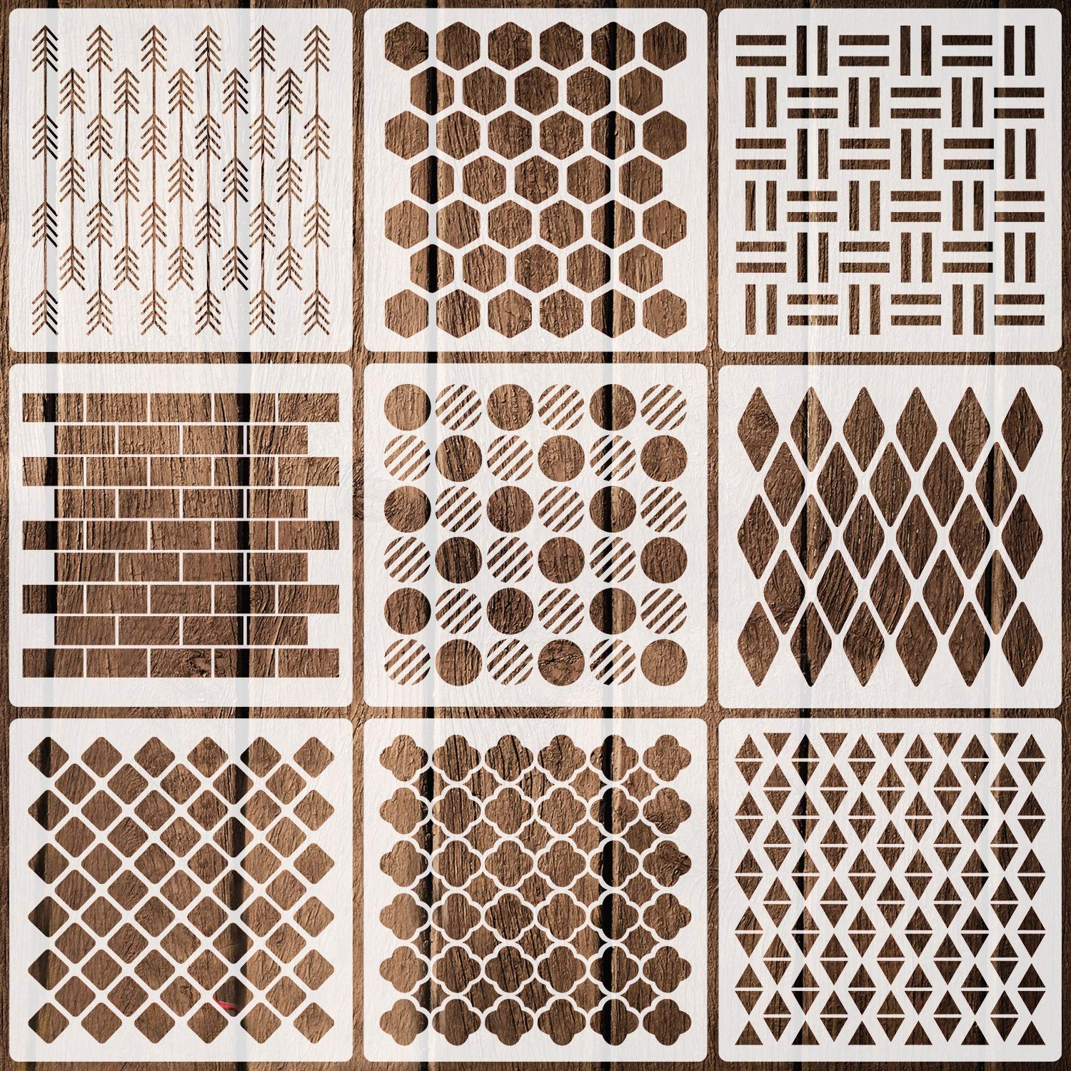 9 Pack Geometric Stencils Reusable Art Templates for Painting on Walls Canvas Wood Furniture, 7.9 Inches