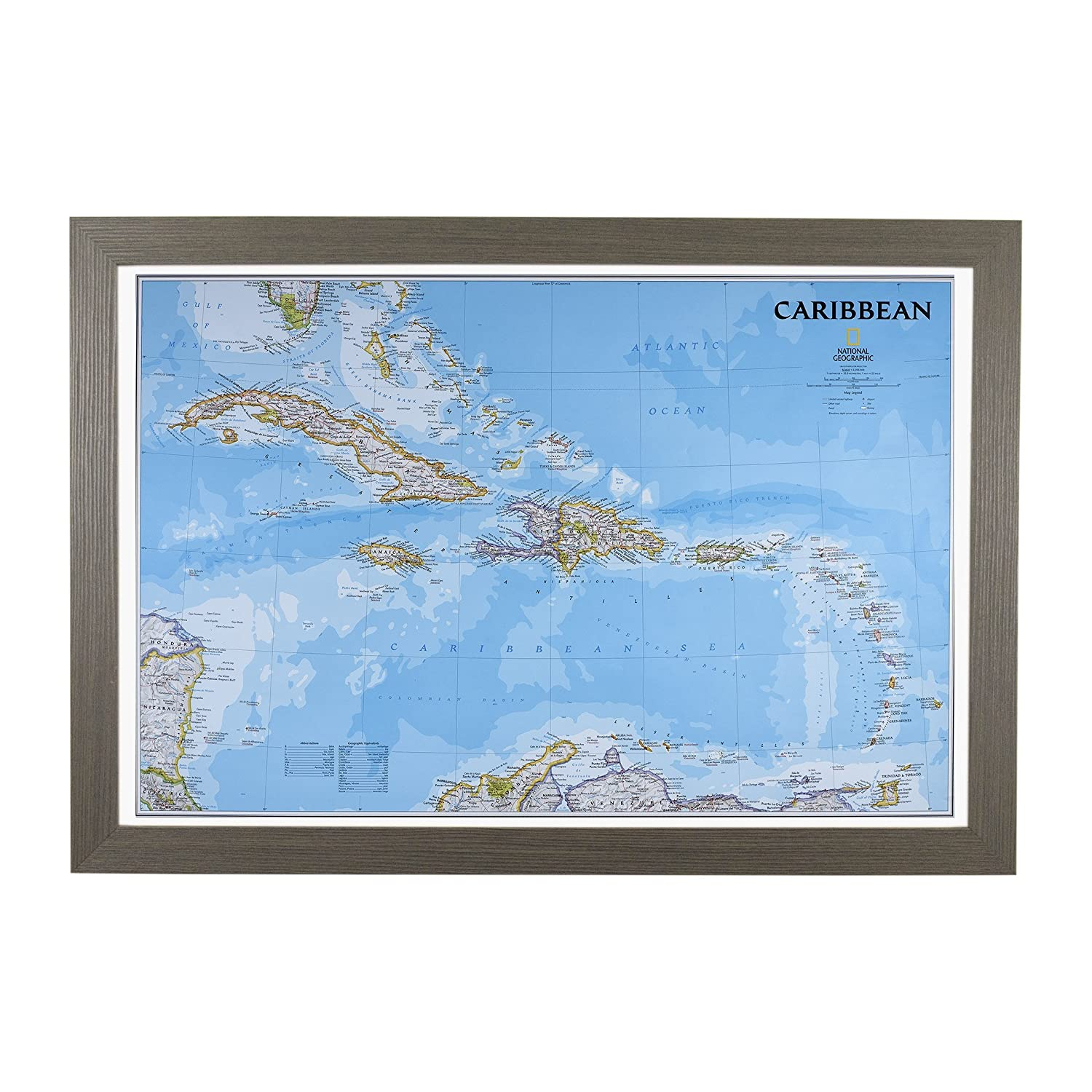 Amazon.com: Push Pin Travel Maps Classic Caribbean with Barnwood Gray Frame and Pins 24 x 36: Posters & Prints