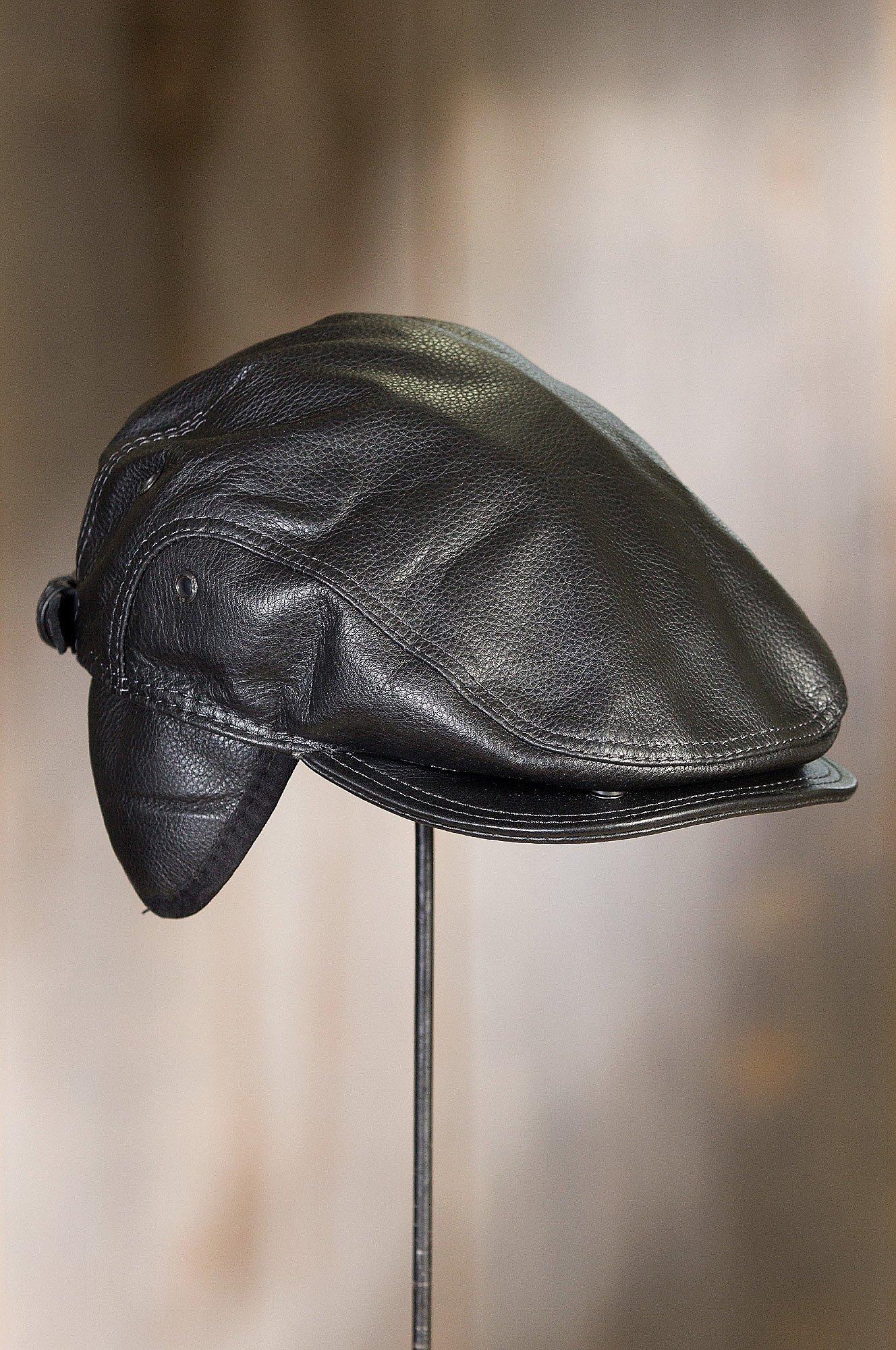 Overland Sheepskin Co. Allen Leather IVY Cap, Black, Size Large (7 1/4-7 3/8) by Overland Sheepskin Co (Image #4)