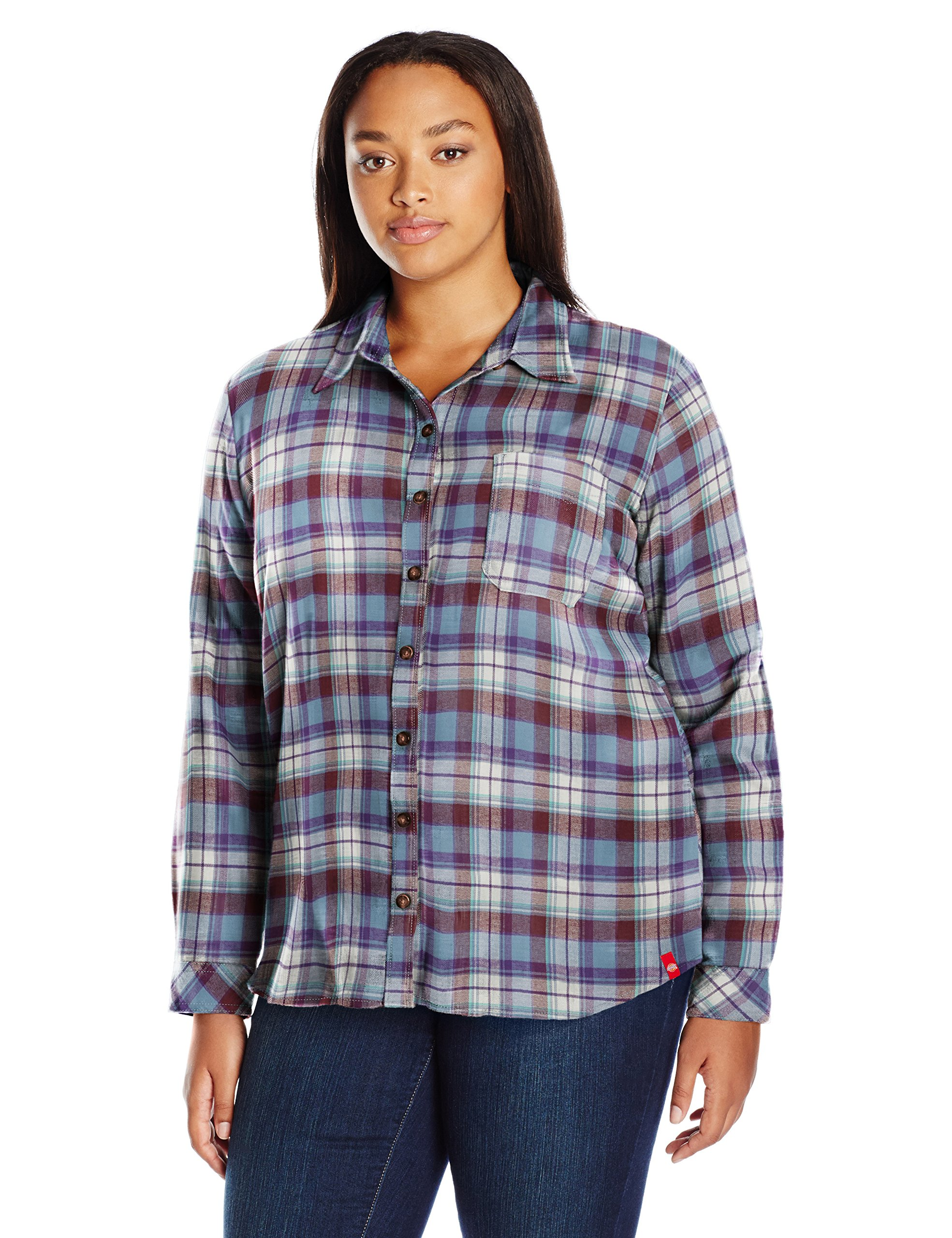 Dickies Women's Plus Size Long-Sleeve Plaid Flannel Shirt, Dusty Blue/Opaque White Plaid, 1X