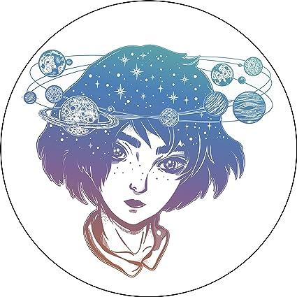 Amazon Com Pastel Ombre Galaxy Space Girl With Halo Cartoon Vinyl