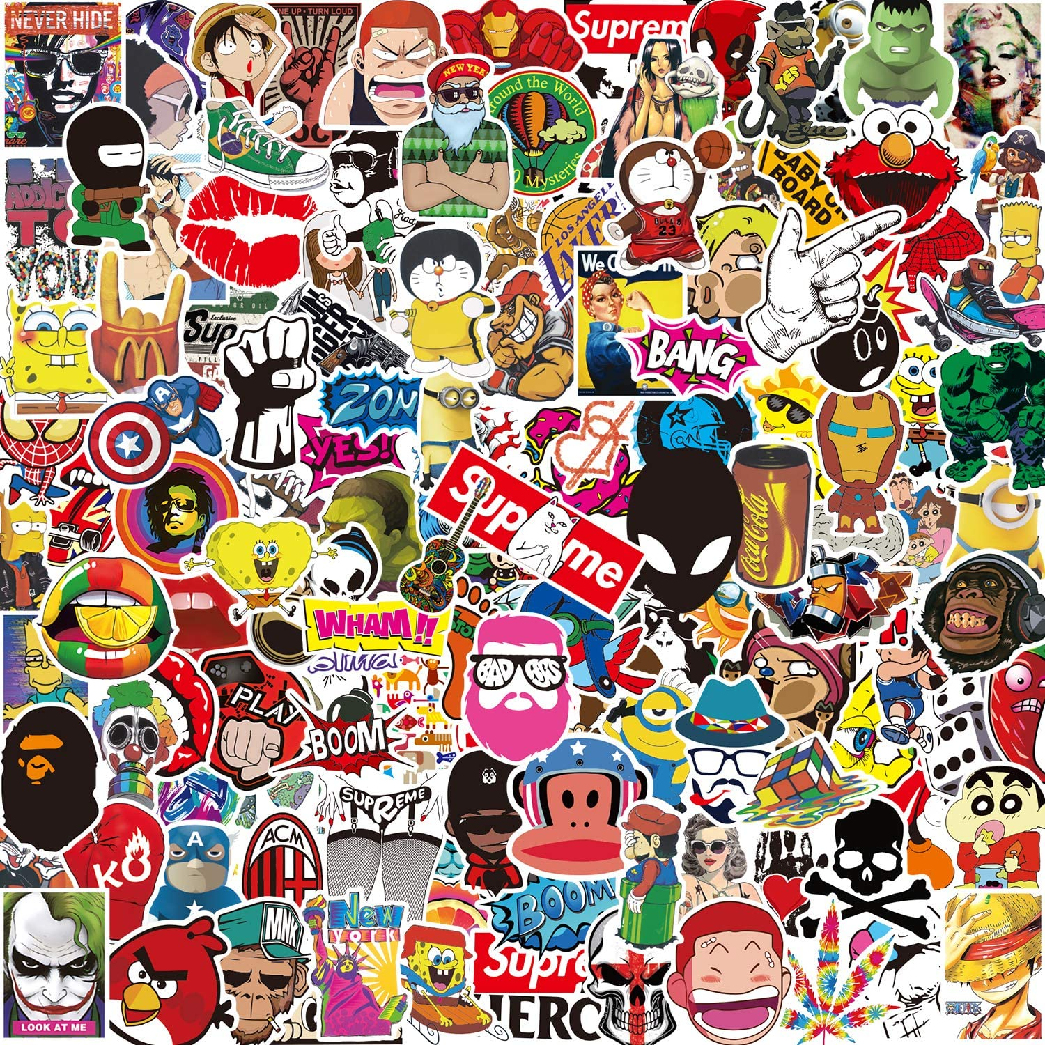 Pack Pegatinas [150-PCS],Q-Window Stickers Vinilo Graffiti Calcomanías Pegatina para Coche Moto Infantiles Pared Teclado IPhone Ps4 Niños Bicicleta Ordenador Equipaje Snowboard Macbook Xbox One bomb