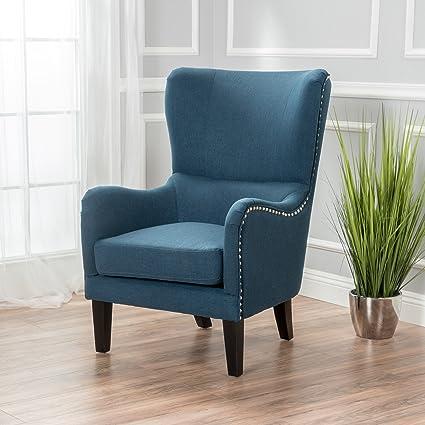 Sheffield Dark Blue Fabric Hi Back Studded Chair