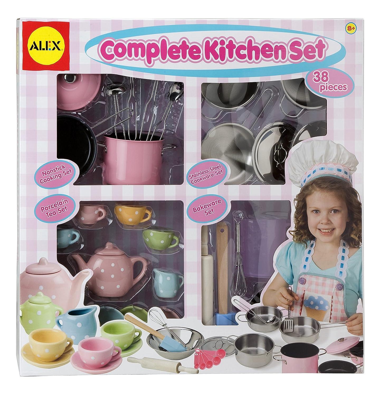 Complete kitchen set alex toys kids bakeware cookware for Kids complete kitchen set
