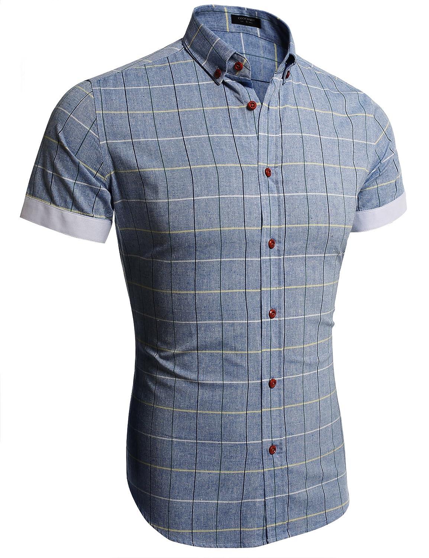 e715f4c8 Top1: COOFANDY Men's Casual Shirt Button Down Short Sleeve Plaid Slim Fit  Patchwork Shirts