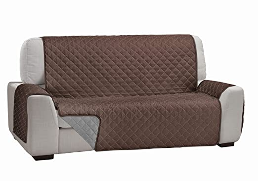 Cardenal Textil Funda Cubre Sofá Dual Cover, Beige/Marrón, 4 Plazas