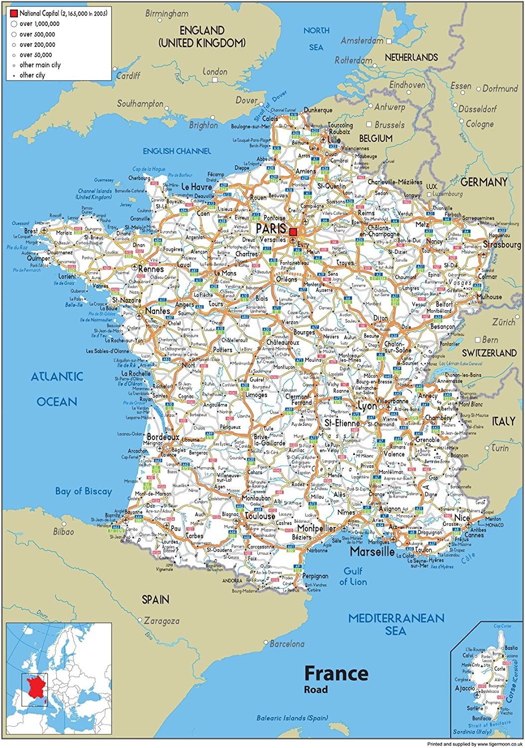 Wall Map Of France A1 Physical Map Not Laminated Ga