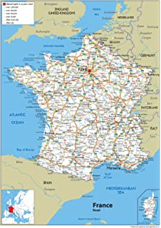 France Physical Map Paper Laminated A Size X Cm - France geographical map