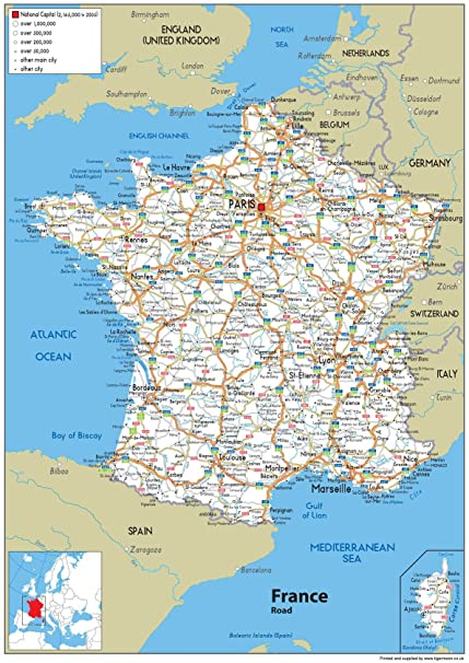 France Road Map - A1 Size 59.4 x 84.1 cm: Amazon.co.uk ...