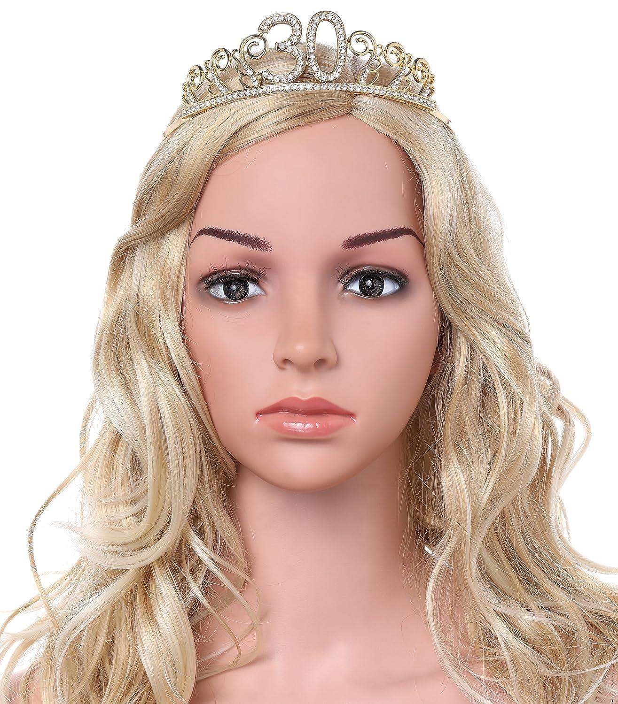 Babeyond Cristallo Strass Corona Compleanno Tiara Birthday Cerchietto Compleanno Accessore Compleanno 18//20//21//30//40//50//60//90 Annni Strass Argento con Pettine 18 anni Oro